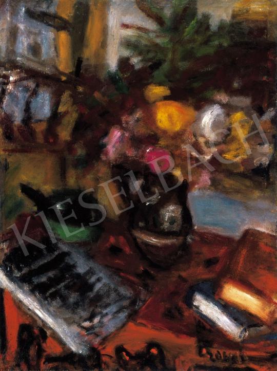 Czóbel Béla - Csendélet virággal és könyvekkel | 21. Aukció aukció / 48 tétel