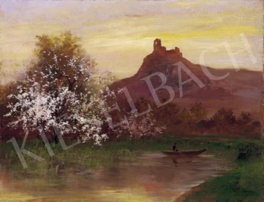 Kézdi-Kovács László - Virágzó tópart háttérben fellegvárral | 3. Aukció aukció / 239 tétel