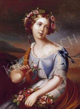 Ismeretlen festő, 1850 körül - Fiatal lány virágokkal