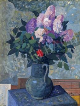 Gábor Móric - Virágcsendélet piros rózsával és orgonákkal