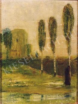 Gulácsy Lajos - Párás táj sétálóval
