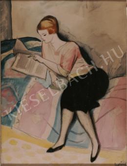 Berény Róbert - Pamlagon olvasó nő