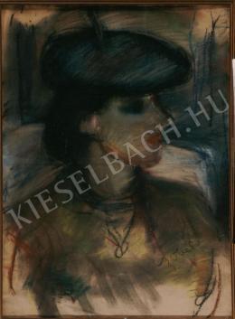 Czóbel Béla - Kék kalapos nő