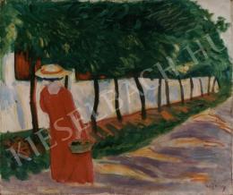 Czigány Dezső - Pirosruhás hölgy napsütötte utcán