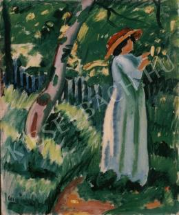 Czigány, Dezső - Woman with Hat in the Garden
