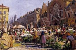 Muzsinszki Nagy, Endre - Market Place in Pest with the Market Hall in the Background