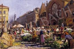 Muzsinszki Nagy Endre - Pesti vásár háttérben a vásárcsarnokkal