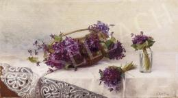 Camilla, Goebl Wahl - Violets on Lacy Tablecloth