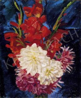 Ziffer Sándor - Virágcsendélet vörös kardvirágokkal