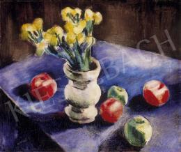 Karikás, Ilona, - Flower Still Life with  Apples