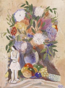 Kádár Béla - Csendélet virággal és gyümölcsökkel
