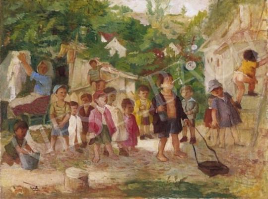 Gedő Lipót - Játszó gyermekek | 2. Aukció aukció / 145 tétel