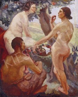 Unknown painter - Female Nudes with Fruit Basket