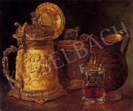 Borsos József - Díszedények vörösboros pohárral