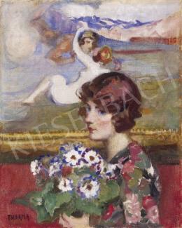 Thorma János - Hölgy virágcsokorral (Műteremben)