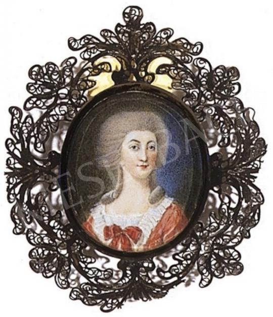 Ismeretlen festő - Hölgy mályvaszínű ruhában, 1790 körül | 2. Aukció aukció / 321b tétel