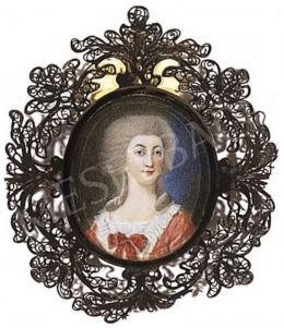 Ismeretlen festő - Hölgy mályvaszínű ruhában, 1790 körül
