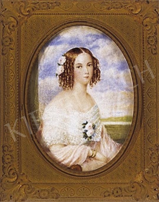 Ismeretlen festő - Leány rózsaszín ruhában rózsákkal, 1840 körül | 2. Aukció aukció / 321c tétel