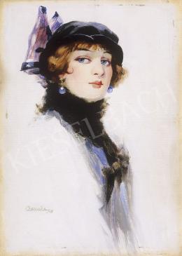 Bardócz Árpád - Ifjú hölgy fekete kalapban