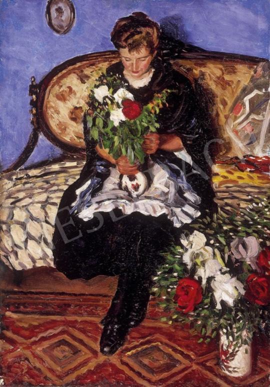 Ismeretlen festő - Virágot rendezgető | 1. Aukció aukció / 22 tétel