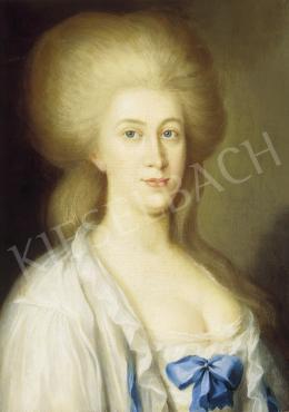 Ismeretlen festő, 18. század - Hölgy kék masnis ruhában