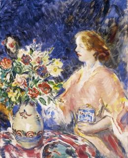 Csók István - Hölgy virágcsokorral