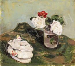 Fényes, Adolf - Still Life of Roses with a bonbonniére