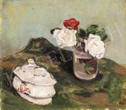 Fényes Adolf - Csendélet rózsákkal és bonboniere-rel