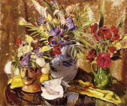 Biai-Föglein István - Csendélet kagylóval és virágokkal