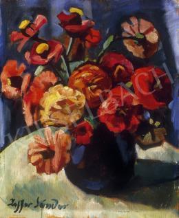 Ziffer Sándor - Virágok kék vázában