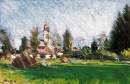 Mikola András - Nagybányai táj árnyas réttel