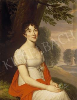 Donát János - Piros kendős nő parkban