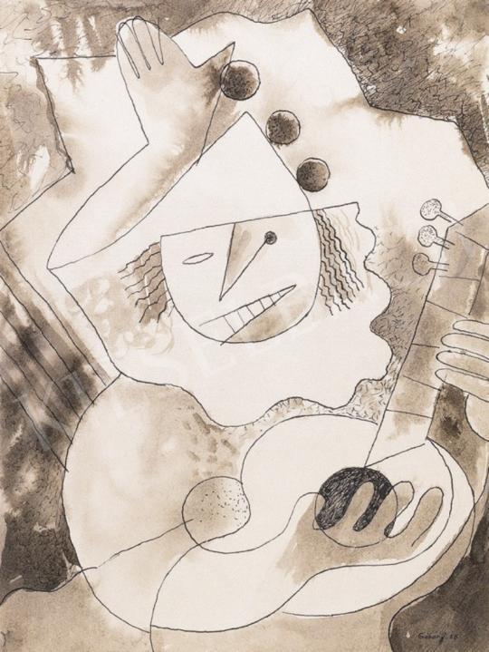 Gábor Jenő - Pierrot gitárral | 1. Aukció aukció / 205 tétel