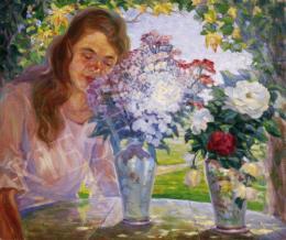 Ismeretlen festő - Lány virágcsokorral