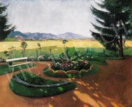 Krizsán János - Árnyas park, háttérben a napsütötte Nagybányával