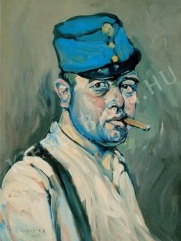 Scheiber, Hugó - Self-portrait with Soldier's hat