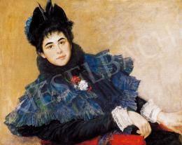 Karlovszky Bertalan - Kalapos nő vörös fotelben
