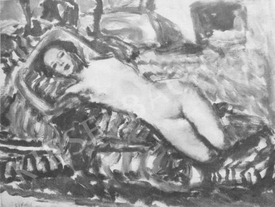 Csók, István - Nude, Lying painting