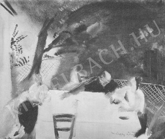 Márffy Ödön - Vacsorázó társaság festménye