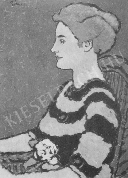 Rippl-Rónai József - Kékruhás nő festménye
