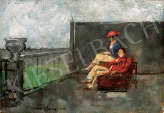Basch Andor - Terasz a tengerparton, háttérben vitorlásokkal | 26. Aukció aukció / 5 tétel
