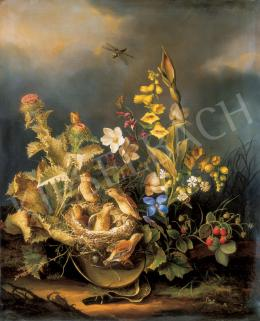 Gruber, Karl Franz - Virágcsendélet madárfészekkel