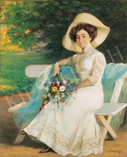 Szenes Fülöp - Kalapos nő virágcsokorral