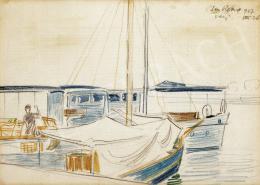 Vaszary János - San Remo-i kikötő vitorlással
