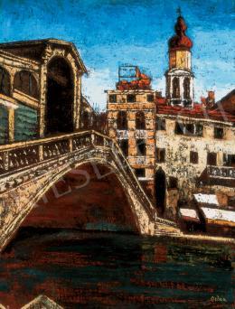 Orbán Dezső - Velence látképe a Canale Grande-tól a Rialto felé