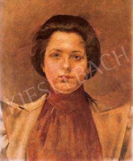 Karlovszky Bertalan - Párizsi nő vörös blúzban