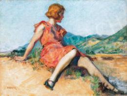 Thorma János - Modell nagybányai tájban