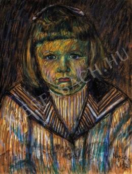 Nagy István - Matrózblúzos kislány (Lánykaportré), 1917