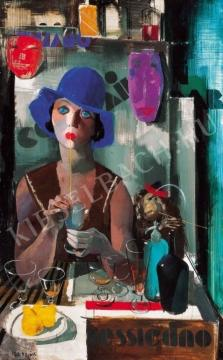 Aba-Novák, Vilmos - Laura (Woman in a Blue Hat), 1930 painting