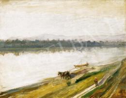 Kernstok Károly - Hajóvontatás a Dunán Nagymarosnál